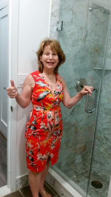 Happy customer with shower glass door
